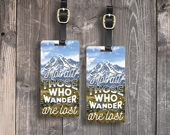 Luggage Tags Not All those Who Wander are Lost Metal Luggage Tag With Custom Info On Back, Single Tag or Set Available Version 1
