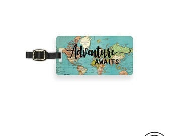 Luggage Tag Adventure Awaits Vintage Map Metal Luggage Tag With Printed Custom Info On Back Single Tag