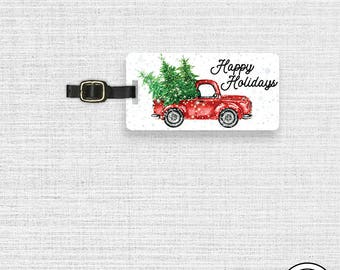 Happy Holidays Christmas Tree Red Truck Luggage Tag  With Printed Custom Info On Back, Single Tag