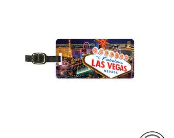 Luggage Tag Las Vegas At Night On the Strip Sign - Full Metal Tag - Single Tag