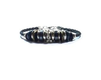 Silver Beaded Leather Bracelet  ,  Beaded Black Leather Bracelet , Black Bolo Leather , Hematite Beads