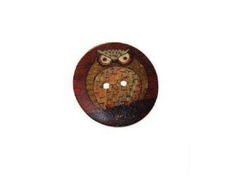 Wooden Owl Buttons , 30MM   2-hole  Painted  Owl Wooden Buttons  ,  6 Pcs , Owl Buttons  ,  Wood Buttons