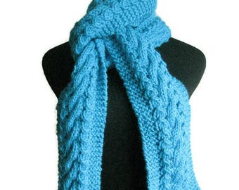 Aqua Hand Knit Scarf  Cable and Lace Scarf, The Stef Scarf, Accessories Womens Scarves, Winter Cable Knit Scarf