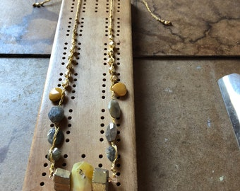 Handwoven Beaded Abundance Necklace with Citrine Pendant