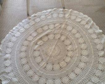 vintage crochet tablecloth, small round, light beige colour, vintage homewares, scalloped edge