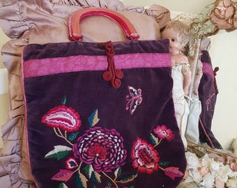 vintage accessorize bag, bohemian bag, velvet look, beads butterflies, embroidered purse