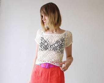 70s 80s creamy white crochet top. sheer crop top. boho summer top - xs