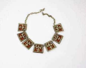 Vintage 50s Fleur de lis Necklace Goldtone Metal Links w Brown Leather Inserts Chain Link Choker Necklace
