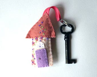 """Wool Felt House Key Chain in terra cotta, peach, lavender with peach and purple Embroidered Floral and Beaded Embellishments, 3.25x2"""""""
