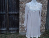 Altered Women's  Cotton/Rayon Tan Tunic, Size M, Battenburg Lace Bottom, Shabby Chic Romantic Top, Boho Chic  Roomy Top, Feminine, Mori-Girl