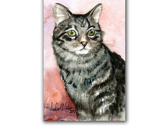 Cat Tabby Kitten Toddler Nursery LLMartin Original Watercolor Painting  Country  Free Shipping USA