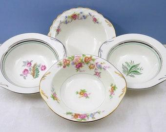 "4 Vtg Mismatched 7"" Soup Salad Bowls, Vintage China for Weddings, Bridal Luncheons or Showers, Shabby Pink Floral, Lug Tab Handles SB24"