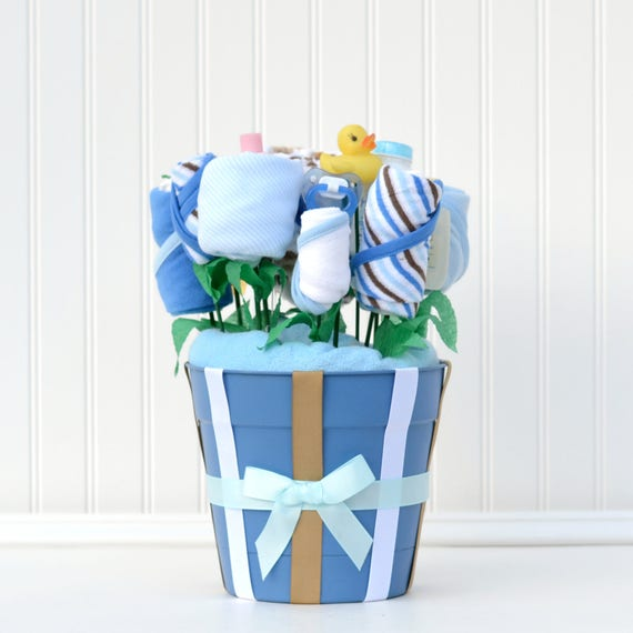Baby Gift Basket, Bathtime Baby Gift, Boy Baby Shower Gift, Baby Gift Set, New Baby Gift, Unique Gift Set, Blue Baby Gift Basket