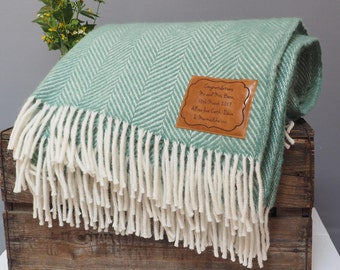 Personalised Wool Throw, Green Throw, Personalised Wedding Gift, Leaving Gift, Leaving Present, Anniversary Gift, 3rd Wedding Anniversary