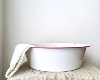 Extra Large Enamelware Bowl, White with Red Trim