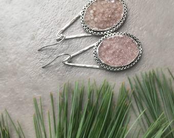 Pink Drusy Earrings - Oval Drusy Dangle Earrings - Natural Quartz Druze - Raw Stone Jewelry - Sterling Silver Drusy Teardrop Earrings