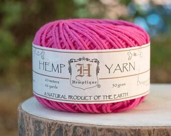 Hot Pink   Yarn, Hemp Cotton Yarn, Pink Wool,  Knitting Yarn, Natural Yarn