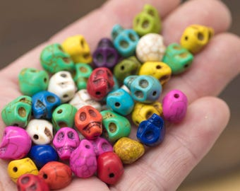 Mini Skull Beads, 10mm, 28 pcs, Mixed Color, Sugar Skulls, Tiny Skull Beads -B426