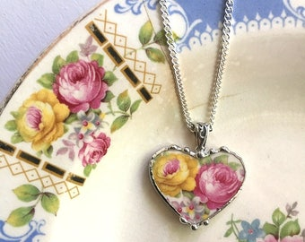 Broken China Jewelry - heart shaped pendant necklace - antique pink and yellow roses - recycled china