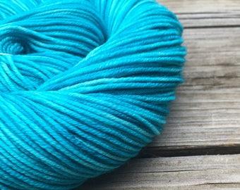 Hand Dyed DK Yarn Mermaid's Curse Turquoise Hand Painted yarn 274 yards handdyed dk sport weight Superwash Merino Wool swm teal blue green