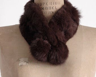 cute 1950s 1960s notched rabbit collar scarf * vintage fur neck warmer * AC138