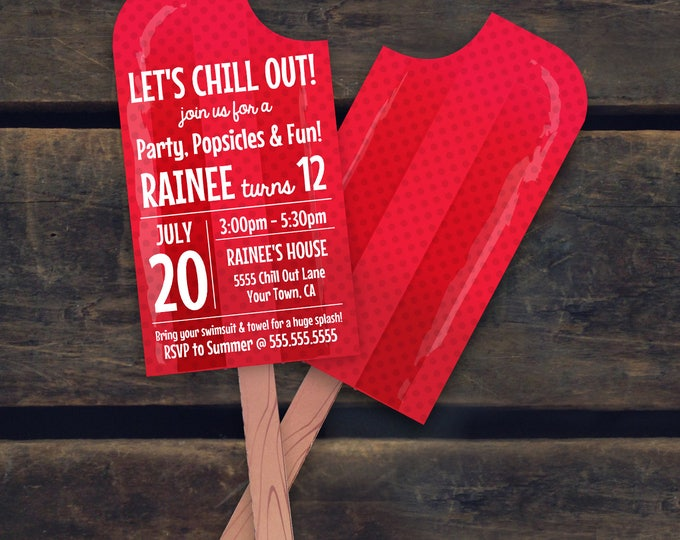 Popsicle Invitation- Ice Lolly Party, Summer Party, Beach Party, Pool Party, Birthday - RED   Editable Text - INSTANT Download PDF Printable