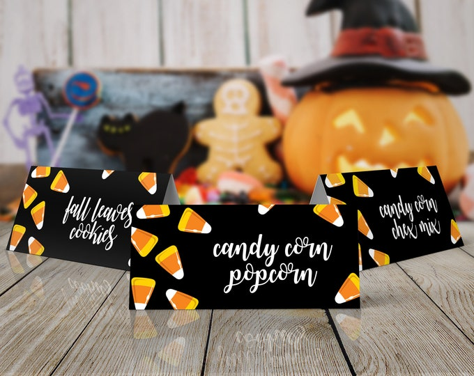 Candy Corn Halloween Party Food Labels - Halloween Party, Table Tents, Place Cards | Editable Instant Download DIY Printable PDFs