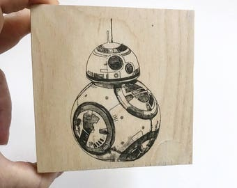 Star Wars Decor Star Wars Gift BB8 Art on Wood Wall Art Customize Colors And Size Star Wars Art Print Art On Wood Star Wars Home Decor