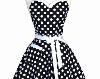 Sweetheart Pinup Womans Apron - Black and White Large Polka Dot Retro Vintage Inspired Flirty Ruffled Kitchen Apron with Pocket (DP)