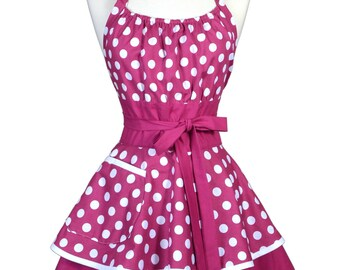 Womens Flirty Chic Apron . Berry Purple and White Polka Dots Cute Retro Vintage Style Pin Up Kitchen Apron with Pockets (CS)