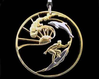 Cut Coin Jewelry - Pendant - Maui Hawaii - Surfer & Dolphin