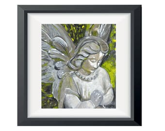 Angel Art, Guardian Angel Decor, Religious Art, Archangel Angel Home Decor, Gift For Her, Angel Painting, Angel Wing Wall Art, Wall Decor