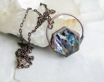 Electroformed Copper Necklace Boho necklace Rainbow Fused Glass Pendant Modern Jewelry Large Glass Pendant Statement necklace OOAK