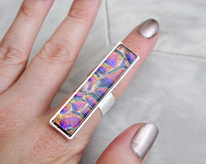 costume jewelry, avant garde, gift for her, rectangle glass cocktail ring, large dichroic glass ring, multicoloured glass statement ring