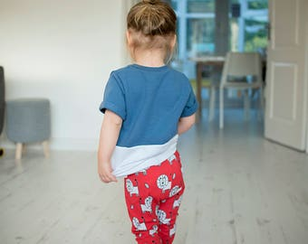 Baby leggings, baby clothes, Organic Knit in red lion fabric