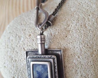 GLAM SALE... Stunning Israel Modernist Sterling Silver 925 Blue Sodalite Hook Closure Necklace. Israeli Necklace 925. Modernist 925