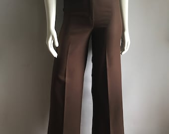 Vintage Women's 70's Brown, Polyester Pants, High Waisted, Wide Leg by College Town (XS)