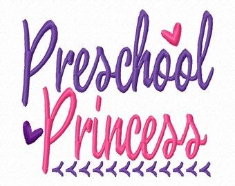 Preschool Princess 4x4 5x7 6x10 Machine Embroidery Design Instant Download girl shirt first day back to school elementary kindergarten heart