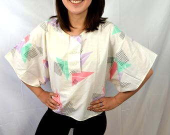Vintage 80s Rainbow Geometric Shape Cropped Shirt Top