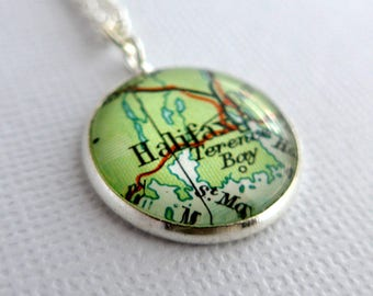 Keepsake Pendant, Women's Personalized Pendant, Map Jewelry, Bronze Anniversary, Wedding Jewelry