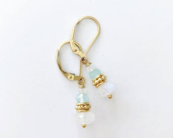 Gold Drop Earrings, Gemstone Drop Earrings, Gold Earrings, Leverback Earrings, Moonstone Earrings, Moonstone Jewelry, Gemstone Earrings, Gem