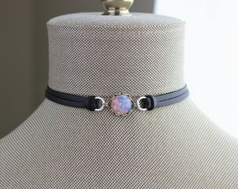 Fire Opal Choker And/or Bracelet. 9 Leather colors to choose from