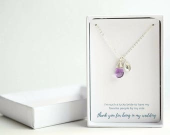 Bridesmaid Necklace Set of 6 - Sister Maid of Honor Gift - Bridesmaid Personalized Jewelry - Sterling Silver Bridesmaid Necklace - Mom Gift