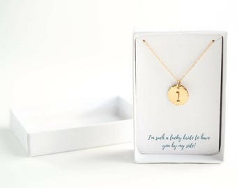 Bridesmaid Necklace Set of 5 - Maid of Honor Thank You Gift - Mother of Groom Gift from Bride - Gold Bridesmaid Necklace, Bridal Party Gifts
