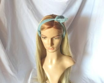 Hippie boho style hair wrap Robins egg blue hair tie Organic cotton crochet headband Lacy feminine