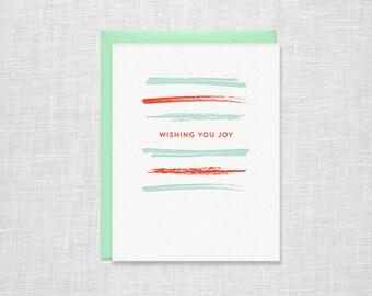 Wishing You Joy Letterpress Holiday Card - Brush Stripe