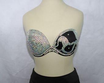 Black 32DD Resin Rhinestone Embellished Bra, Victoria's Secret Strapless, Underwire Bra