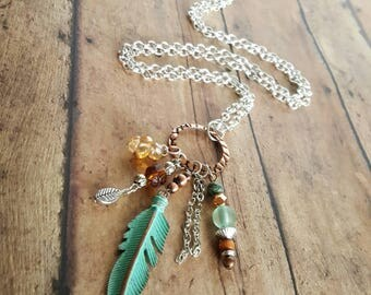 Mixed Metal Feather Charm Necklace - Long Necklace - Copper - Turquoise Teal Aqua - Beaded Necklace - Silver Chain - Unique Gift - Trendy