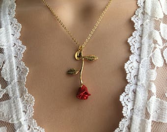 Original Red Rose Necklace, Gold Rose, Beauty and the Beast Necklace,Anniversary Gift, Personalized Bridesmaid gift, Initial Necklace