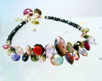 Watermelon Tourmaline Bracelet, Multi & Mixed Gemstone Briolettes, Romantic, Feminine Sexy Jewelry, Heirloom Jewelry, Lovely Luxe Jewels